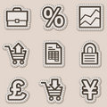 E-business web icons, brown contour sticker series Stock Photo