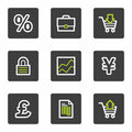 E-business web icons, grey square buttons series Stock Photos