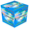 E-Commerce 3d Cube with Text over Clouds Royalty Free Stock Photos