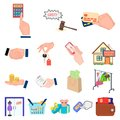 E-commerce and business cartoon icons in set collection for design. Buying and selling vector symbol stock web