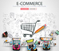 E-commerce Concept with Doodle design style Royalty Free Stock Photo