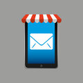 E-commerce concept, hand holding smartphone email envelope icon Royalty Free Stock Photo