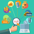 E-commerce concept internet buy sale shopping online store flat Royalty Free Stock Photo
