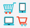E commerce design over gray background vector illustration Royalty Free Stock Images