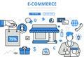 E-commerce electronic sale shop concept flat line art vector