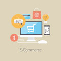 E commerce flat illustration concept design vector poster with icons of buying product via online shop and ideas symbol and Royalty Free Stock Image