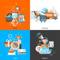 E commerce icons set design concept with order delivery stock support flat vector illustration Royalty Free Stock Photography