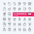 E-commerce, online shopping and delivery elements web icon set - outline icon set Royalty Free Stock Photo