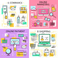 E-Commerce Online Shopping,Marketing,Online Payment Banners. Business. Internet and mobile marketing concept. For web and mobile p Royalty Free Stock Photo