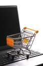 E commerce shopping online cart with notebook Stock Photography