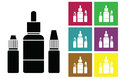 E-juice. Fluid for electronic cigarettes vector icon or color cards with bottles of liquid of electronic cigarettes.