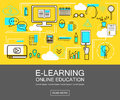 E-learning banner concept. Online Education. Thin Line icons. Vector Illustration.For web ,network, site, social media.