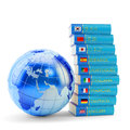 E learning concept books with various languages ​​and earth globe on white Stock Photos