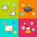 E learning concept illustration of in flat style Royalty Free Stock Photography