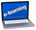 E learning d generated picture of a laptop with the word in front Stock Image
