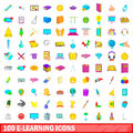 100 e-learning icons set, cartoon style