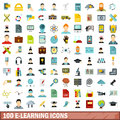 100 e-learning icons set, flat style