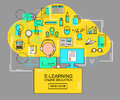 E-learning and online education concept with student with computer and study icons. Thin Line vector Illustration