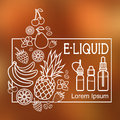 E liquid illustration of different flavor liquid to vape icons the taste the electronic cigarette on blurred background Royalty Free Stock Photos