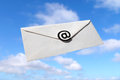 E mail blue sky and envelope with symbol concept of Royalty Free Stock Photo