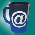 E mail coffee cup shows internet cafè shop showing Stock Images