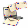 E mail concept laptop and letters on white background d Stock Images
