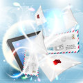 E mail concept mail screen tablet pc bright background Royalty Free Stock Photo