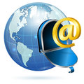E mail concept open mailbox sign earth vector icon isolated white background Stock Photo
