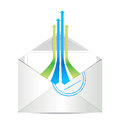 E-mail icon. Envelope mail with leader arrows Stock Photos