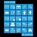 E mail icon set with flat metro style Stock Photography