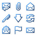 E-mail icons, blue contour Stock Images