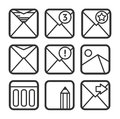 E mail icons set contour black Royalty Free Stock Images