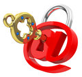 The e mail key d generated picture of a red sign and a golden Royalty Free Stock Photo