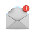 E mail notification one new email message in the inbox concept