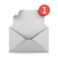 E mail notification one new email message in the inbox concept Royalty Free Stock Photo