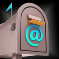 E mail postbox shows online communication through internet showing Royalty Free Stock Photo