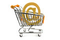 E mail sign in shopping cart on white background Royalty Free Stock Images