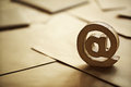 E mail symbol on brown business letters Stock Images