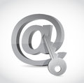 E mail symbol with key internet security concept design over white Royalty Free Stock Photography