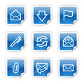E-mail web icons, blue glossy sticker series Stock Image