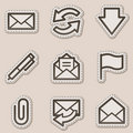 E-mail web icons, brown contour sticker series Stock Image