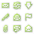 E-mail web icons, green contour sticker series Royalty Free Stock Photography