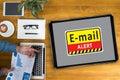 E-mails Hacked Warning Digital Browsing and virus Royalty Free Stock Photo