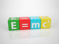 E mc series words out of letterdices maybe the most popular formula albert einstein genius Stock Image