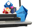 E-mededeling en elektronische handelmetafoor Stock Afbeelding