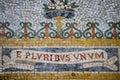 E pluribus unum inscription mosaic close up detail Royalty Free Stock Photo