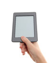 E-reader and hand Royalty Free Stock Photos