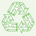 E-waste garbage icon. Old discarded electronic waste to recycling symbol. Ecology concept. Design by recycle sign with circuit Royalty Free Stock Photo