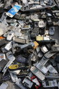 E waste old cell phones sold in a market Royalty Free Stock Photo