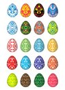 Twenty colorful Easter eggs, five unique patterns.Isolated on a white background.